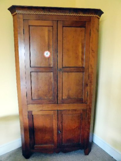 Antique Blind Door Cupboard w/ Shaped Apron, Cherry, Circa 1800's (some modifications)