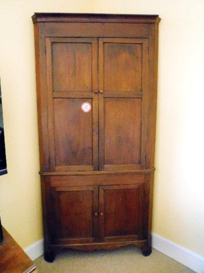 Antique, Walnut Blind Door Cupboard, Poplar Secondary, Original Mortise & Pegs, Circa Early 1800's