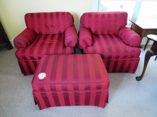 (2) Upholstered Armchairs, (1) Matching Ottoman