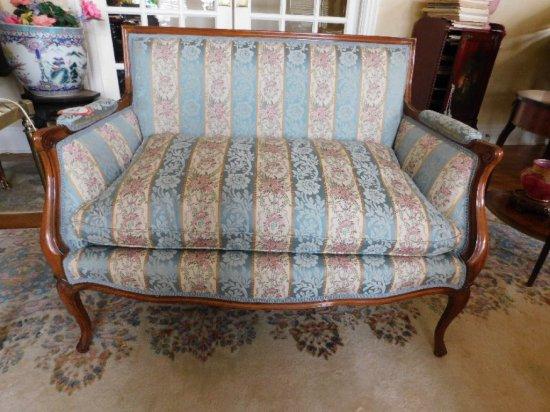 Wooden Framed, Upholstered Love Seat