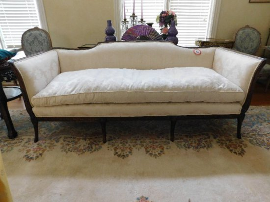 Wooden Framed, Damask Upholstered, Single Cushioned Sofa