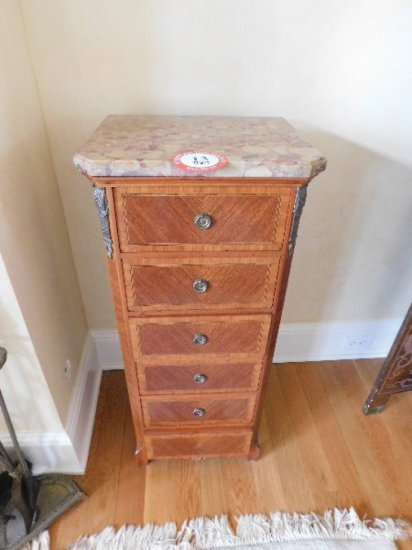 Pair of Brass & Fruitwood, 6 Drawer Chest, Marble Top