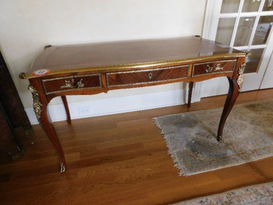French Style, Brass & Fruitwood, 3 Drawer Desk w/ Damask Chair