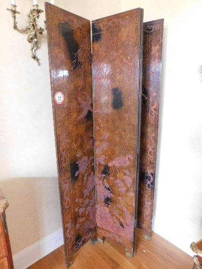 Oriental Style, 4-Panel Wooden Dressing Screen carved w/ Foliage & Birds