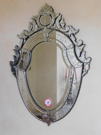 Decorative Beveled Glass & Etched Wall Mirror