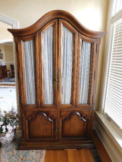 Walnut Drop Front Dry Bar, 4-Door