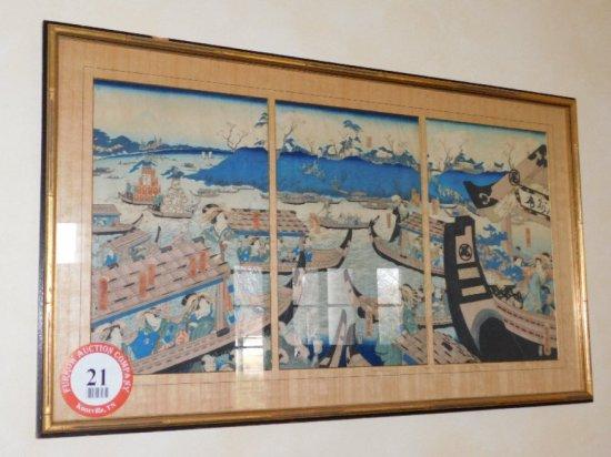 Decorative Framed Oriental Print
