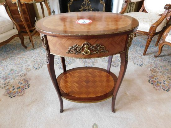 Decorative Brass & Fruitwood Oval Side Table, Single Drawer