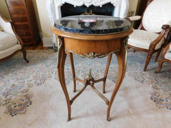 English Style Brass & Fruitwood, Marble Top Table