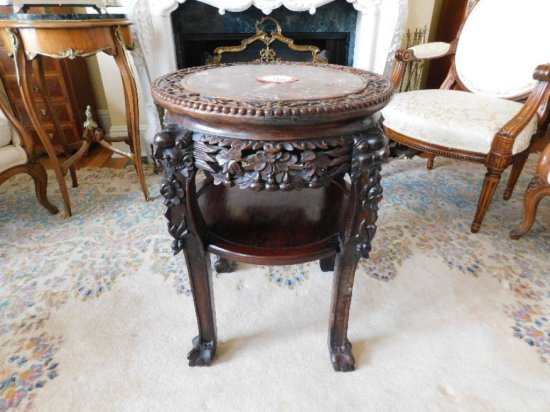 English Style, Decorative Side Table, Marble Inlaid Top