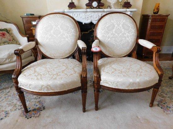 (2) Wooden Framed, Damask Upholstered Bottom & Back Side Arm Chairs