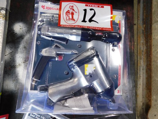 "(3) Pneumatic Tools, 1/2"" Impact Wrench, 3/8"" Ratchet, Air Gun"