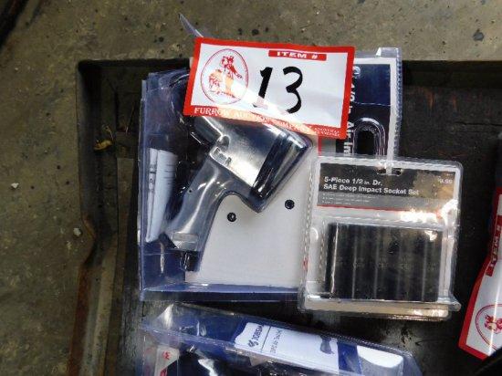 "1/2"" Pneumatic Impact Wrench, W/5-piece 1/2"" drive impact sockets"