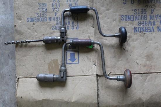 (2) Vintage Hand Crank Drills