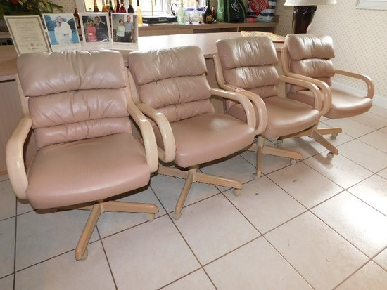 (4)Wooden Framed Leather Upholstered  Bottom and Back Arm Chairs on Casters