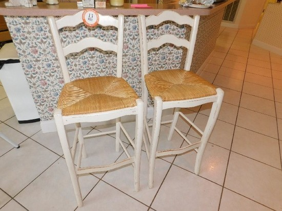 (2) Distressed Painted Wooden Bar Stools, Woven Bottom