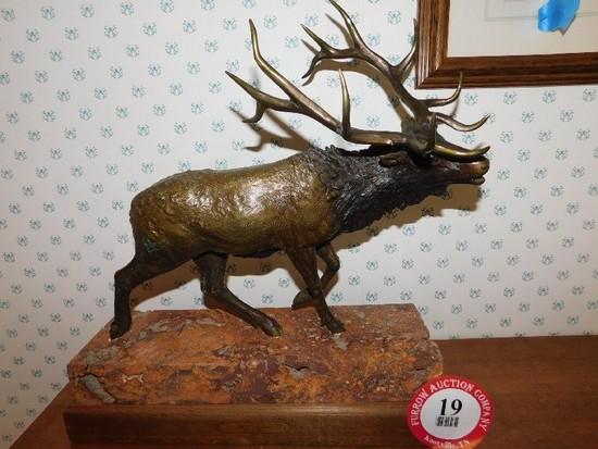 """Burl  A. Jones Sculpture 'Alpine Reveille' w/ 17"""" Base, 18"""" Tall"""