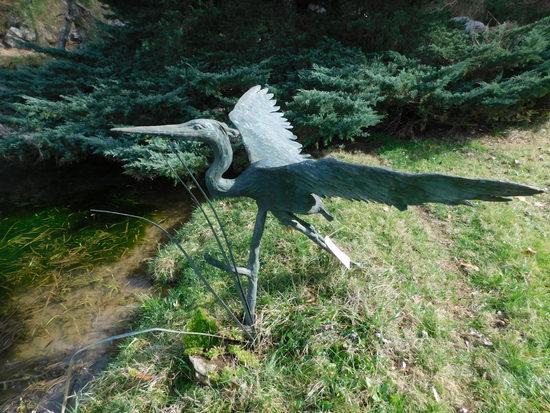 Bronze Heron Sculpture
