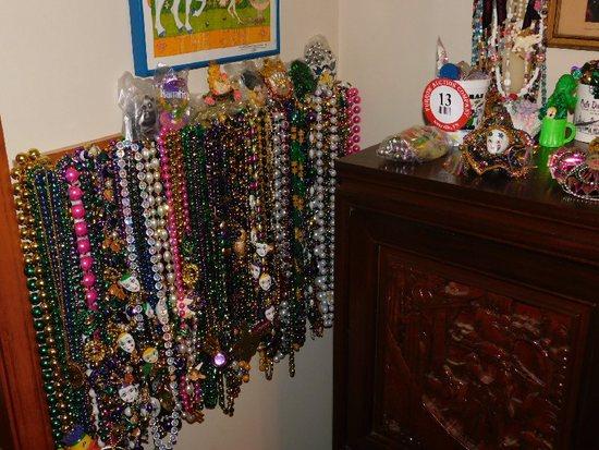Lot of Assorted Mardi Gras Décor, Beads, Coins, Masks, Etc