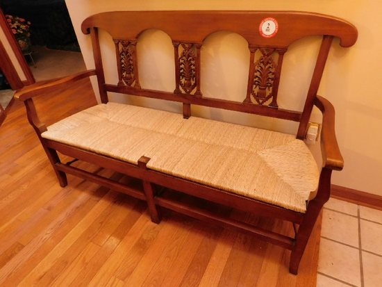 Mahogany Framed Bench w/ Woven Bottom, Relief Carved Inserts/Back