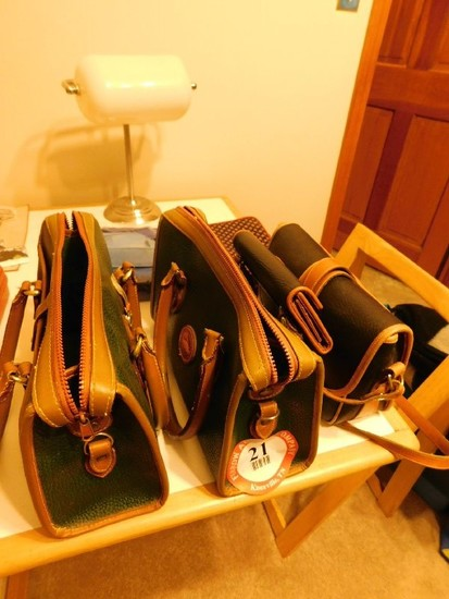 (3) Dooney & Burke Leather Hand Bags, Wallet and (3) Makeup Bags