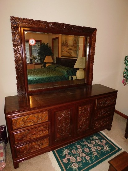 Oriental Style Relief Carved King Sized Bed w/ Dresser w/ Mirror, Chest, (2