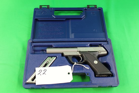 Model Colt .22 Target Pistol, Brushed Stainless Composite Grip, Automatic, s/n PH