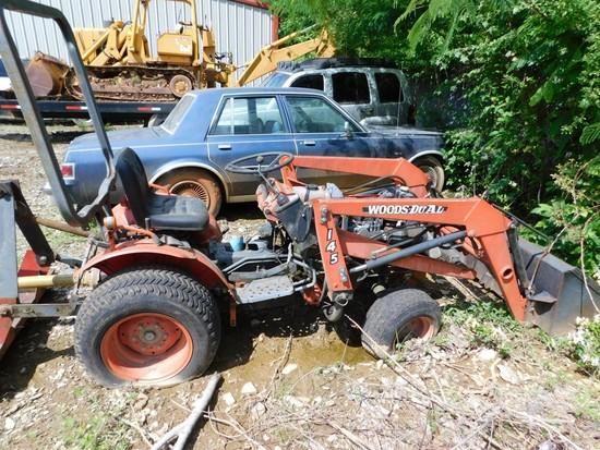 Kubota Tractor/Loader, Turf Tires, Woods 145 Loader, 3 Cylinder Diesel D750