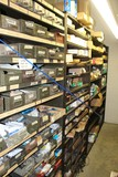 Contents of (4) Sections Shelving, Various Auto Parts, Push Pins, Battery T