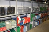 Contents of (8) Sections Shelving, Workshop Manuals, Car Parts Master Logs