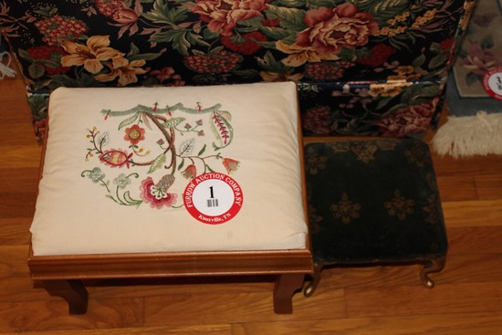 (2) Foot Stools, Wooden Framed (1) Needle Point Top (1) Upholstered Top