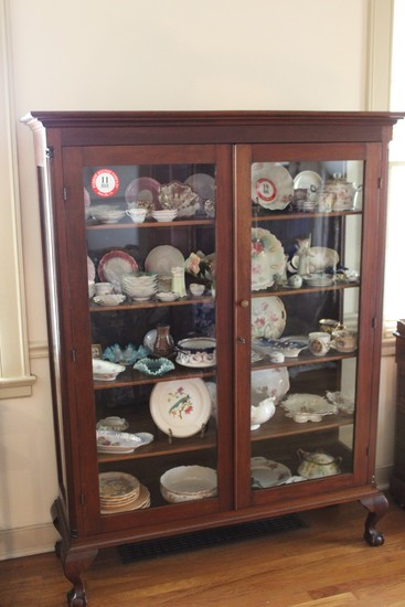 Cherry Wood Curio Cabinet-Glass Doors, Bone Claw Foot