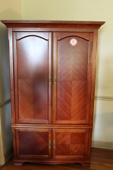 Cherry w/ Mirror Veneer Entertainment Center, 4 Door
