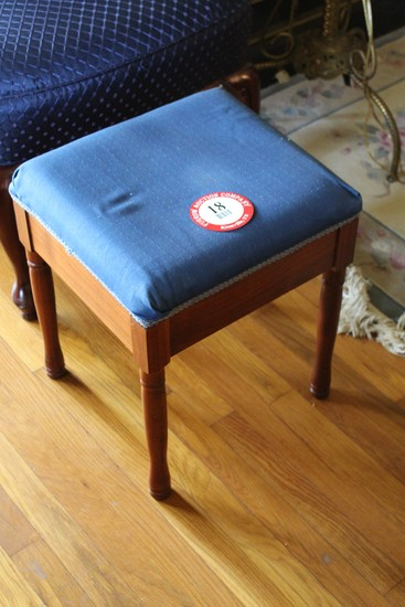 Wooden Framed, Upholstered Top Ottoman