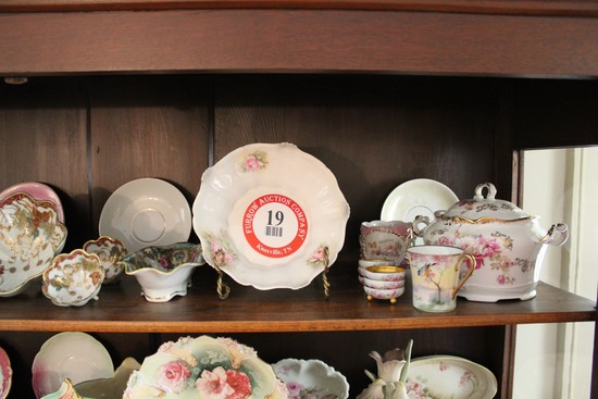 Contents of Curio Cabinet To Include: Decorative Painted Bowls, Plates, Cup