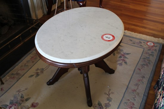 Eastlake Style Marble Top Oval Side Table