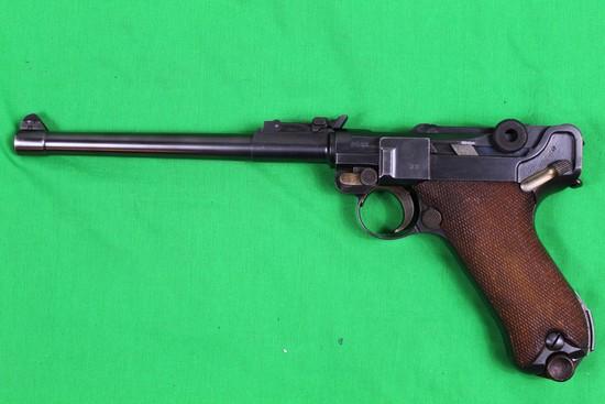 Luger DWM Artillery model, caliber 9mm, s/n 2522  8 inch barrel, rear sight
