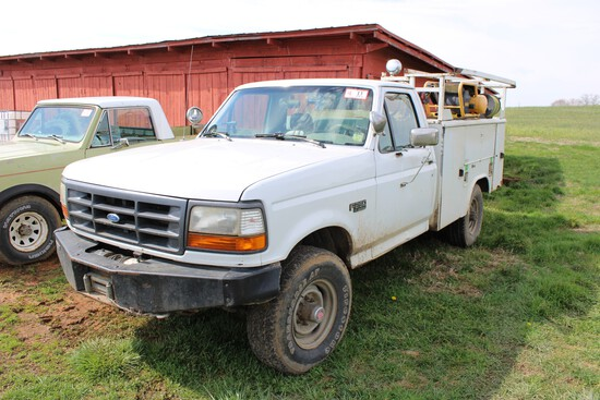 1994 Ford F-250, 4WD, Diesel, Automatic, Utility Bed w/ Lift Gate, Air Comp