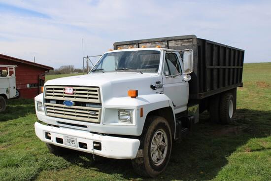 1987 Ford F-700 Grain Truck w/ Dump, Diesel, 6 Speed, 129,674 Miles, VIN 1F