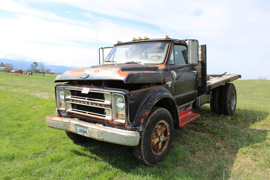 1967 Chevy C60 Flatbed Dump, V-8, 4 x 2 Speed, Non-Running, Miles Unknown,