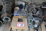 Contents of (4) Pallets: GM Cylinder Heads, Intake Manifolds, Cranks, Fans,