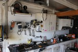 Cabinets & Contents of Peg Board: Belts, D-Belts, Wrenches, Filters, Wire,