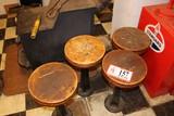 (4) Metal Based Wooden Bottomed Stools