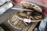 Contents of Pallet: (4) Wooden Spoked Wheels & Wagon