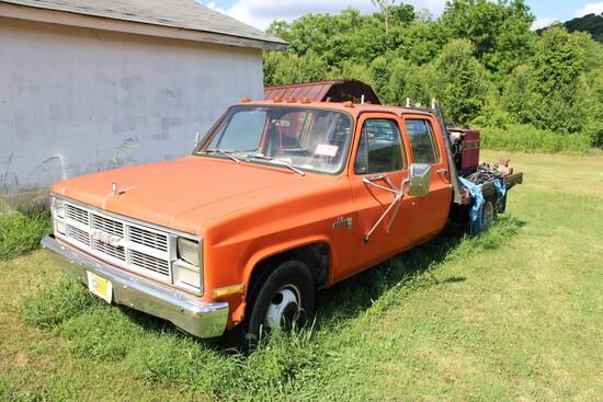 1983 GMC 3500 Sierra Truck, 4 Door Automatic Trans, 6.2 DSL w/ Flat Bed w/
