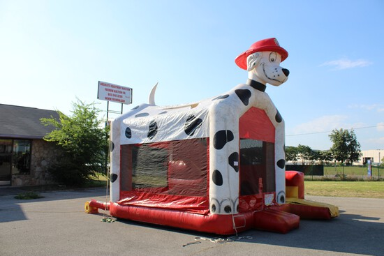 Dalmatian 3-in-1 Bounce/Slide/Basketball 5 Stakes w/ Blower