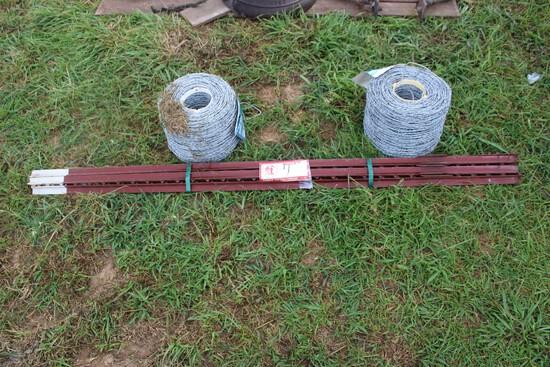 Spool T-Post (Fence Post) w/ (2) Spools Barb Wire