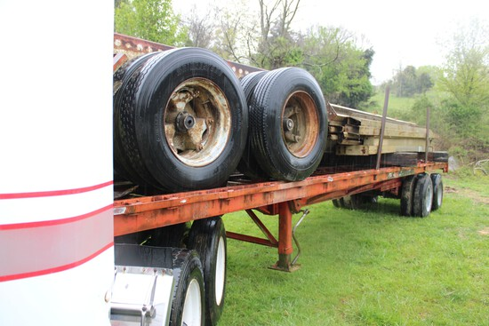 Flatbed Trailer with 30 x 40 Metal Frame Building