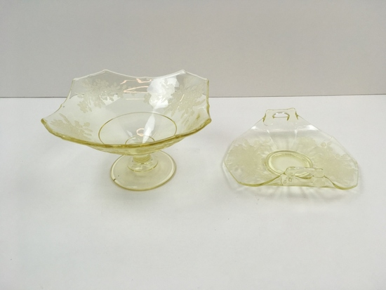 "2 PCS OF PADEN CITY ""ARDITH"" YELLOW GLASSWARE"