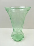 GREEN VASELINE GLASS ETCHED WITH TULIPS